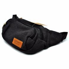 Toko Sport Tas Pinggang Canvas Hiking Camping Traveling Waist Bag Pack Black Terlengkap Banten