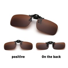 Star Mall Polarized Glasses Day Night Vision Driving Sunglasses Clip-on Flip-up Lens Specification Dark brown, M - intl