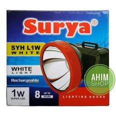 SURYA Lampu Senter Kepala Cahaya PUTIH 1W Super LED Rechargeable Head Lamp – SYH L1W WHITE
