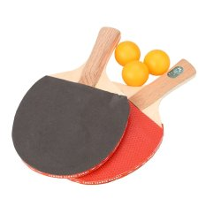 Raket Tenis Meja Ping Pong Profesional Bat W/3 Balls Olahraga Pegangan Pendek
