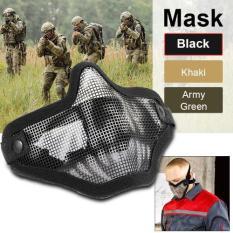 Spesifikasi Tactical Crusader 2G Airsoft Strike Steel Metal Mesh Lower Half Face Mask Black Th494