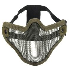 Taktis Berburu Logam Kawat Setengah Wajah CS Game Masker Mesh Airsoft Masker Paintball Hijau Tentara-