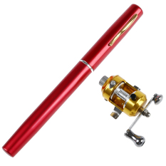 Teiton Fish Rod Pen Mini Pocket Fishing Portable Pancing Pena - Merah