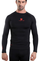 Tiento Baselayer Long Sleeve Black Red Baju Kaos Lengan Panjang Ketat Manset Rashguard Compression Base Layer Olahraga Lari Sepak Bola Futsal Voli Running Renang Diving Sepeda Golf Original