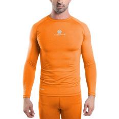 Diskon Tiento Baselayer Manset Rashguard Compression Baju Kaos Ketat Olahraga Bola Renang Running Gym Fitness Yoga Long Sleeve Orange Silver Original Tiento