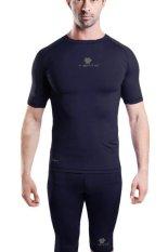 Beli Tiento Baselayer Manset Rashguard Compression Baju Kaos Ketat Olahraga Bola Renang Running Gym Fitness Yoga Short Sleeve Navy Silver Original Terbaru