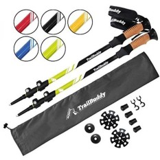 TrailBuddy Tiang Trekking-2-pc Pack Adjustable Hiking atau Tongkat Kuat, Aluminium Ringan 7075-Penyesuaian Cepat Fli-Intl