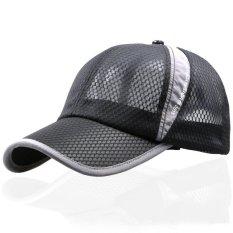 Beli Unisex Classic Mesh Bisbol Cap Adjustable Trucker Kosong Golf Olahraga Kolam Topi Hitam Pake Kartu Kredit