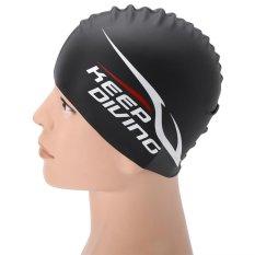 Jual Cepat Unisex Elastis Silicone Swimming Cap Tahan Air Berenang Hat Hitam Intl