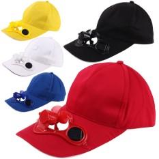 Unisex Topi Cap Topi Baseball Musim Panas dengan Kipas Bertenaga Surya Kipas Pendingin Cap untuk Camping Traveling Outdoor Aktivitas Warna: Hitam-Intl