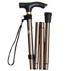 Unisex Woman Men Portable Folding Collapsible Cane Travel Walking Hiking Mountain Climbing Stick Non-slip Adjustable Aluminum Alloy Foldable Crutch with Comfortable Handle for Old Gentleman or Lady Golden