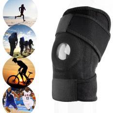 Beli Ustore Adjustable Strap Elastis Patella Dukungan Olahraga Brace Hitam Neoprene Lutut Lengkap