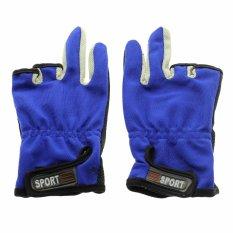 Dapatkan Segera Vanker 1 Pasang Tahan Anti Slip 3 Rendah Potong Jari Jarinya Selip Bukti Paket Pancing Sarung Tangan Biru