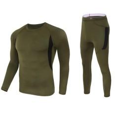 Veecome Hangat Bernapas Bulu Panas Pakaian Dalam Panjang Sleeves Kaus Celana Set Olahraga Pakaian untuk Pria Wanita Warna: hijau Angkatan Darat Ukuran: L-Internasional