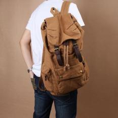 Promo Vintage Pria Wanita Casual Canvas Backpack Schoolbag Hiking Travel Tas Coklat Internasional Oem