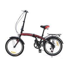 Viva Cycle Twist Y3110 Hi-Ten Folding 7sp Sepeda Lipat 20' - Matt Black-Merah (JABODETABEK Only)