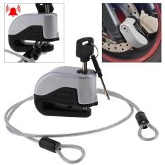 Tahan Air Tahan Karat Diperkuat Silinder Alarm Sepeda Rem Cakram Lock dengan 100 Cm Steel Kawat Pengikat Tali untuk Motor/Electric Bersepeda-Intl
