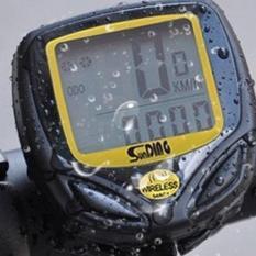 Harga Tahan Air Nirkabel Sepeda Lcd Pedometer Kecepatan Speedometer Kuning Berguna Yang Murah