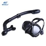 Whale Profesional Menyelam Olahraga Air Latihan Snorkelling Silikon Masker Snorkel Kacamata Set Hitam Intl Terbaru