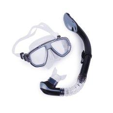 Jual Beli Winmax Premium Silicone Tempered Glass Mask Dry Top Snorkel Combo Menyelam Snorkeling Set Hitam Intl Tiongkok