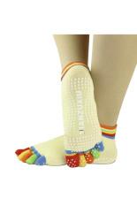 Womens 5-kaki Berwarna-warni Warni Yoga Gym Non Slip Pijat Kaki Kaus Kaki Penuh Grip Kuning