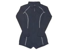 (X-Large) - Stingray Black Women's Long Sleeve Zip Front Boyleg Rash Guard Swimsuit - intl