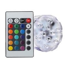 Yooc (1 Pack) Remote Control RGB Lampu LED Submersible Mengubah Warna, Kobwa Battery Powered 10 LED Tahan Air Dekoratif Floral Light Lampu untuk Pernikahan, Pesta, Vas, Base, Kolam, Kolam Renang...-Intl