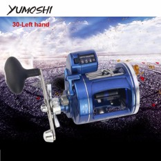 Yumoshi 12 Bantalan Pancing Kumparan Kiri/Kanan Trolling Melemparkan Drum Roda dengan Elektrik Kedalaman Menghitung Multiplier Merah/Biru -Internasional