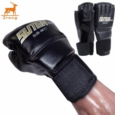 Beli Zrong New 1 Pair Cool Mma Muay Thai Training Punching Bag Half Mitts Sparring Boxing Gloves Gym Black Intl Nyicil