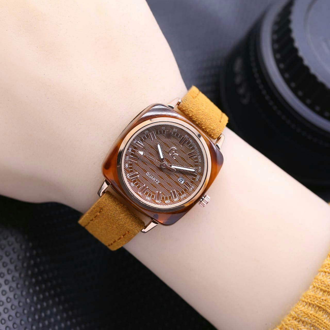 jam tangan GC tanggal aktif tali kulit