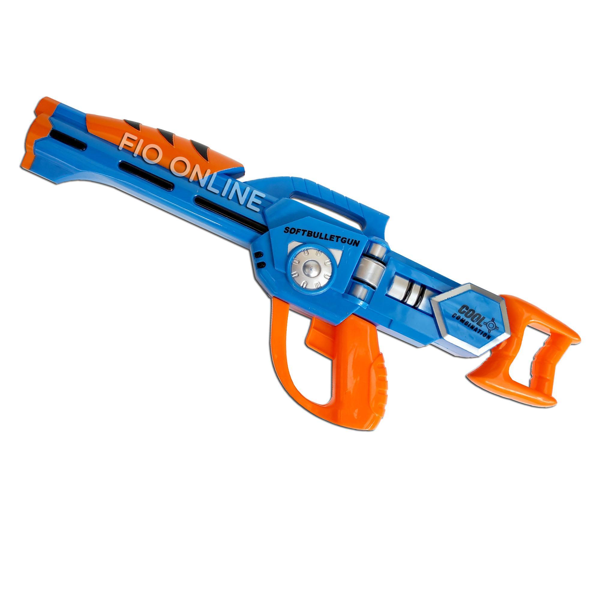 Fio Online Jl3877a Pd3835a Mainan Rapid Fire Dart Blasting Pistol Senjata Tembakan Soft Bullet Gun Toys - Peluru Lembut - Biru By Fio Online