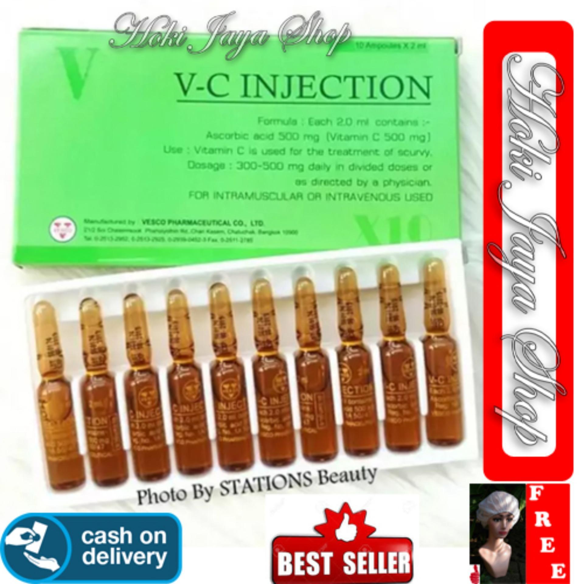 HOKI COD - VC Injection 1 Box Isi 10 Ampul - / Vitamin C Injection / VC Injeksi / Serum Vitamin C Ascorib Acid 100% Original Thailand - GM 1 + Shower Cap Putih - Premium