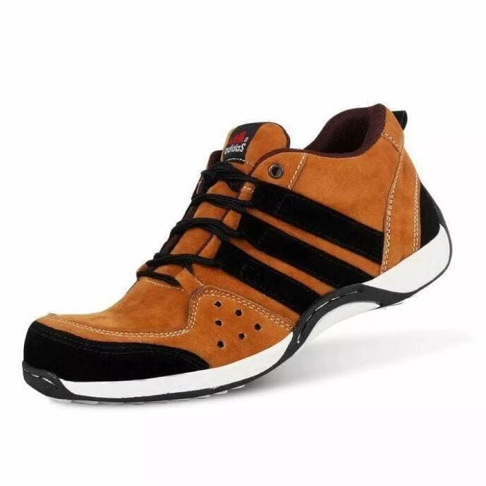 Sepatu Safety Adidas Felix -  AthalaStore - Low Pria Casual Running Joging Touring Ujung Besi /Tan/Navy/Abu