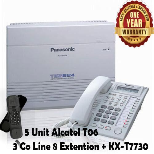 Panasonic Best Seller Murah PABX PBX KX-TES824 TES-824 TES 824 Telepon Telephone 3 Co Line - 8 Extention + Key Display Phone KX-T7730  + 5 Unit Alcatel T06 Bergaransi Resmi
