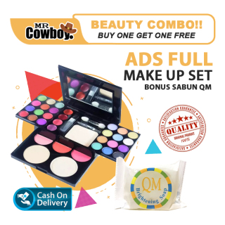SPECIAL OFFER - MR.COWBOY - ADS MAKE UP SET PALETTE PINKY Eyeshadow Palette Lipstick Blush On Powder Make Up Kit - Complete 33 Color Palette Ori + FREE Sabun QM 60gr thumbnail