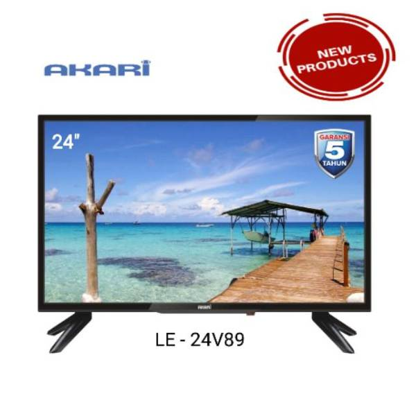 TV LED AKARI LE-24V89 24 INCHI GARANSI RESMI TELEVISI HD DATAR LCD USB MOVIE HDMI WITH ID MESSAAGE FITUR MY PICTURE BERGARANSI PANEL TV LED