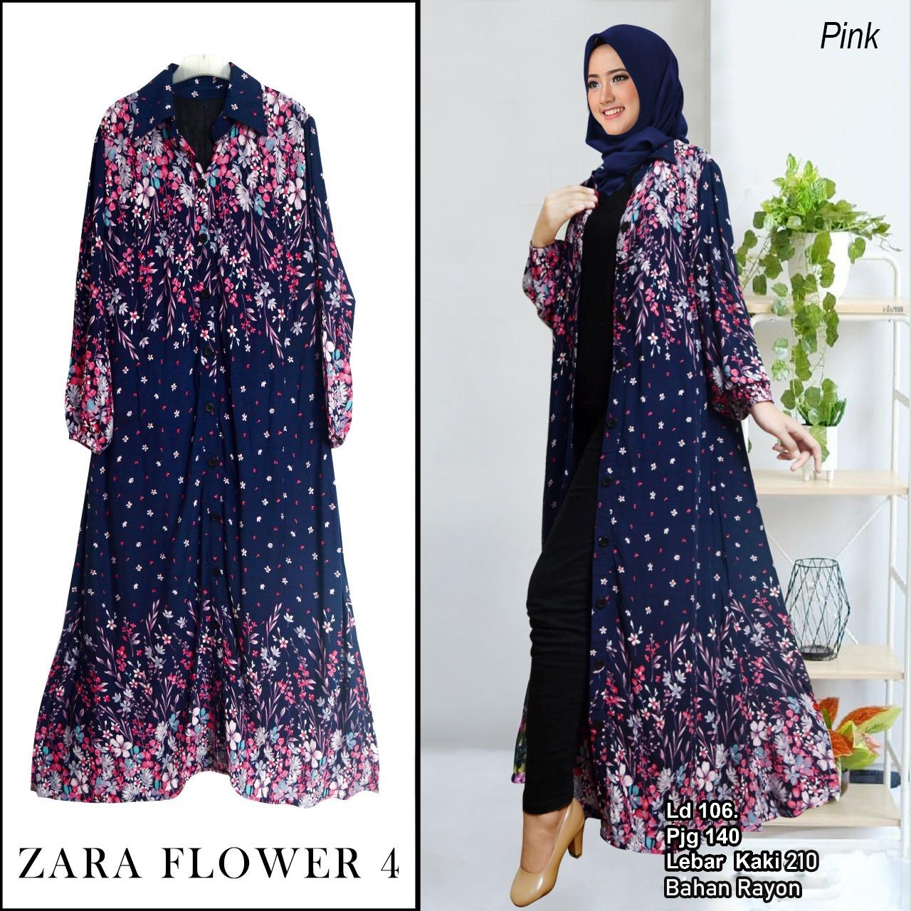 central gamis / koleksi Zara long cardigan outer flower / maxi dress /  first hand / first supplier