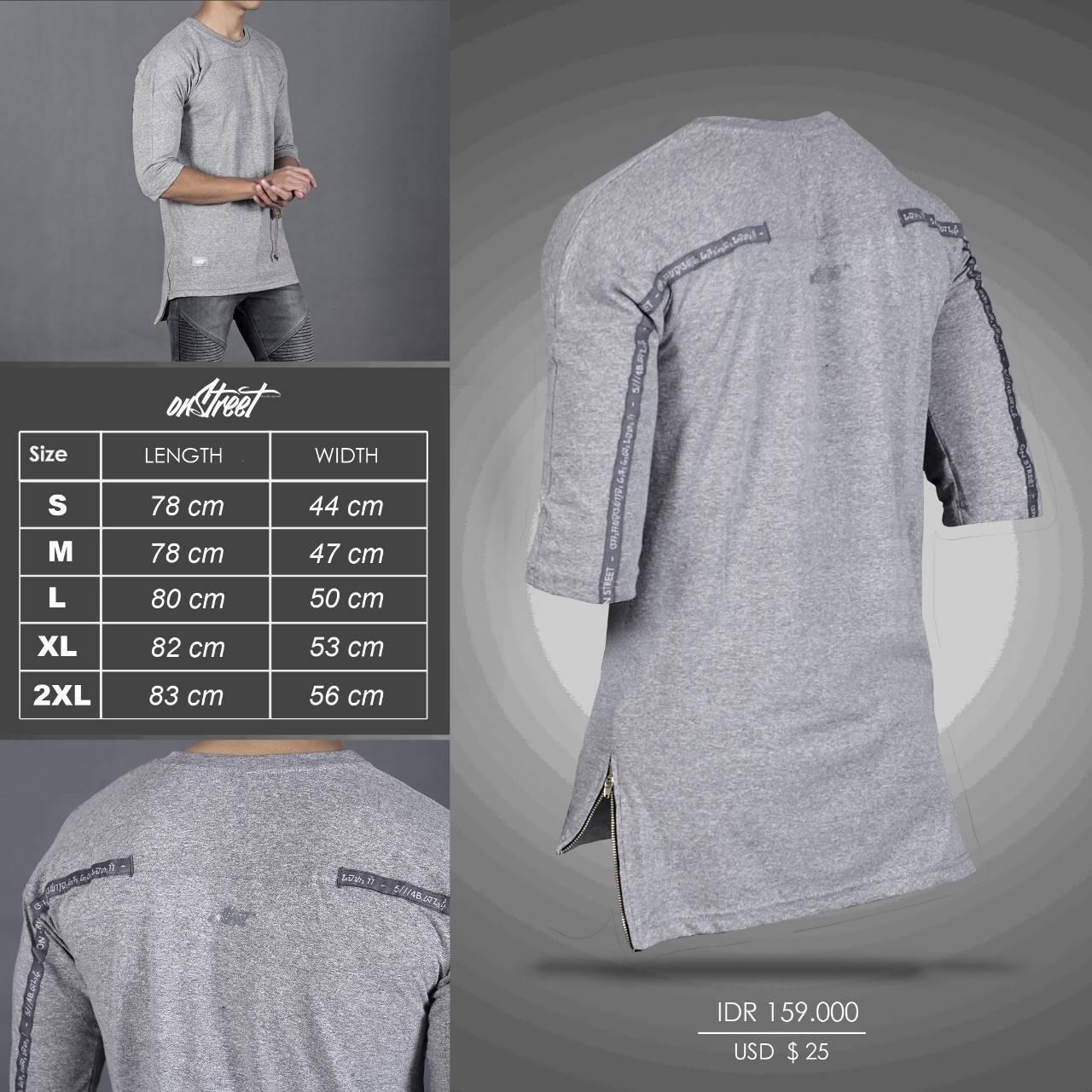 kaos / t-shirt raglan longline backstrip onstreet original