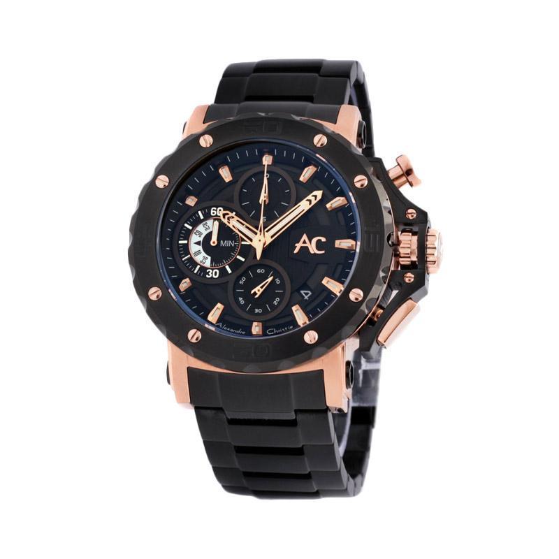 Alghani Watch Jam Tangan Pria Original Alexandre Christie AC 9205 MC BBRBA Chronograph Black Dial Stainless Steel