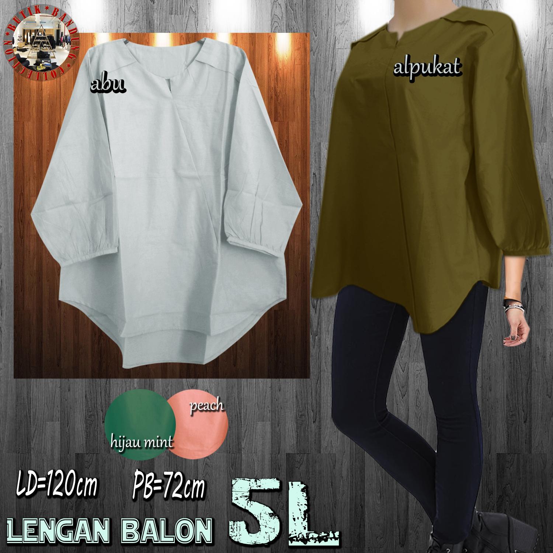 Baju Atasan Wanita / Blouse Wanita / Atasan Katun Serong Bahu Lipat - Jumbo 5L