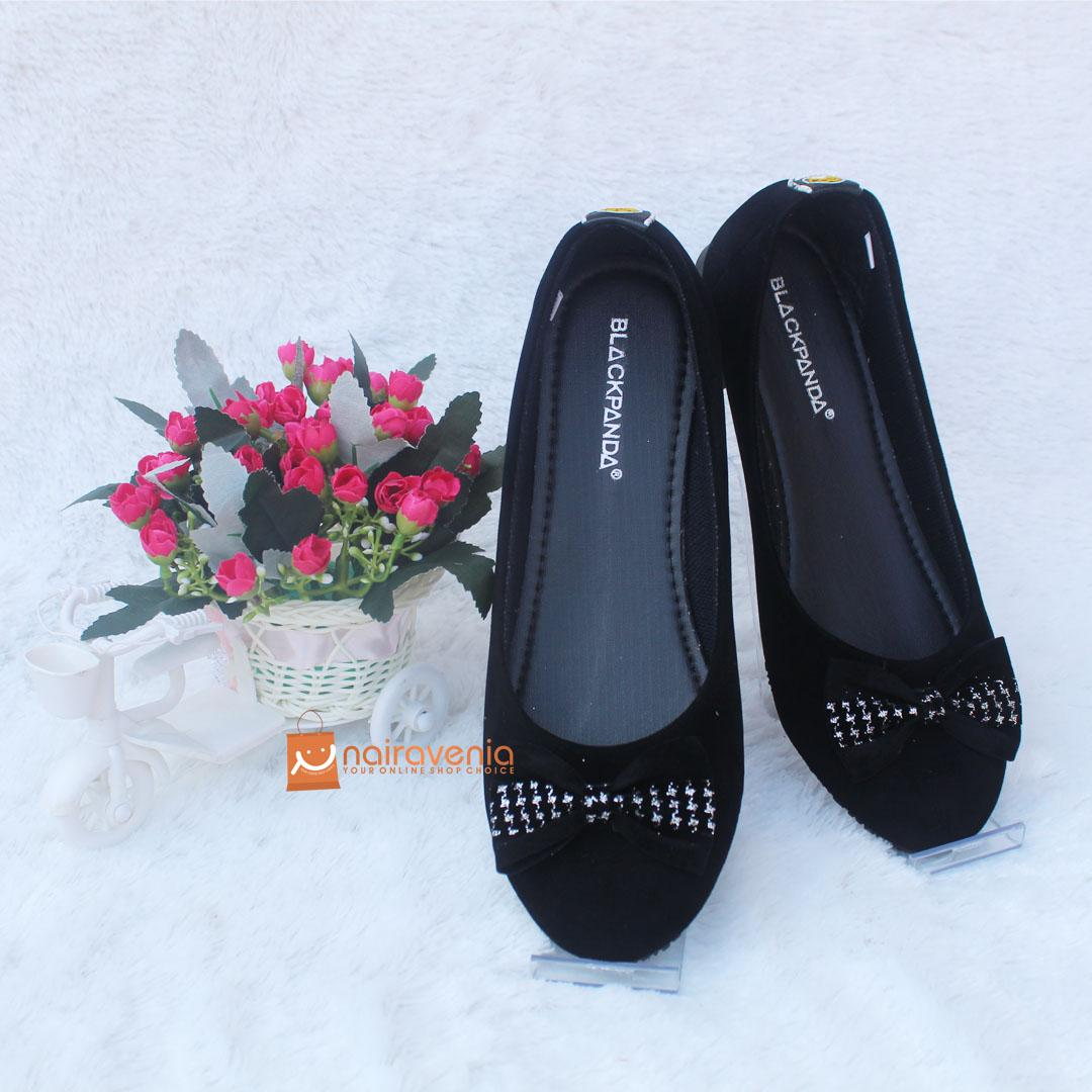Black Panda Flat Shoes / Sepatu Balet Kekinian / Vero Black