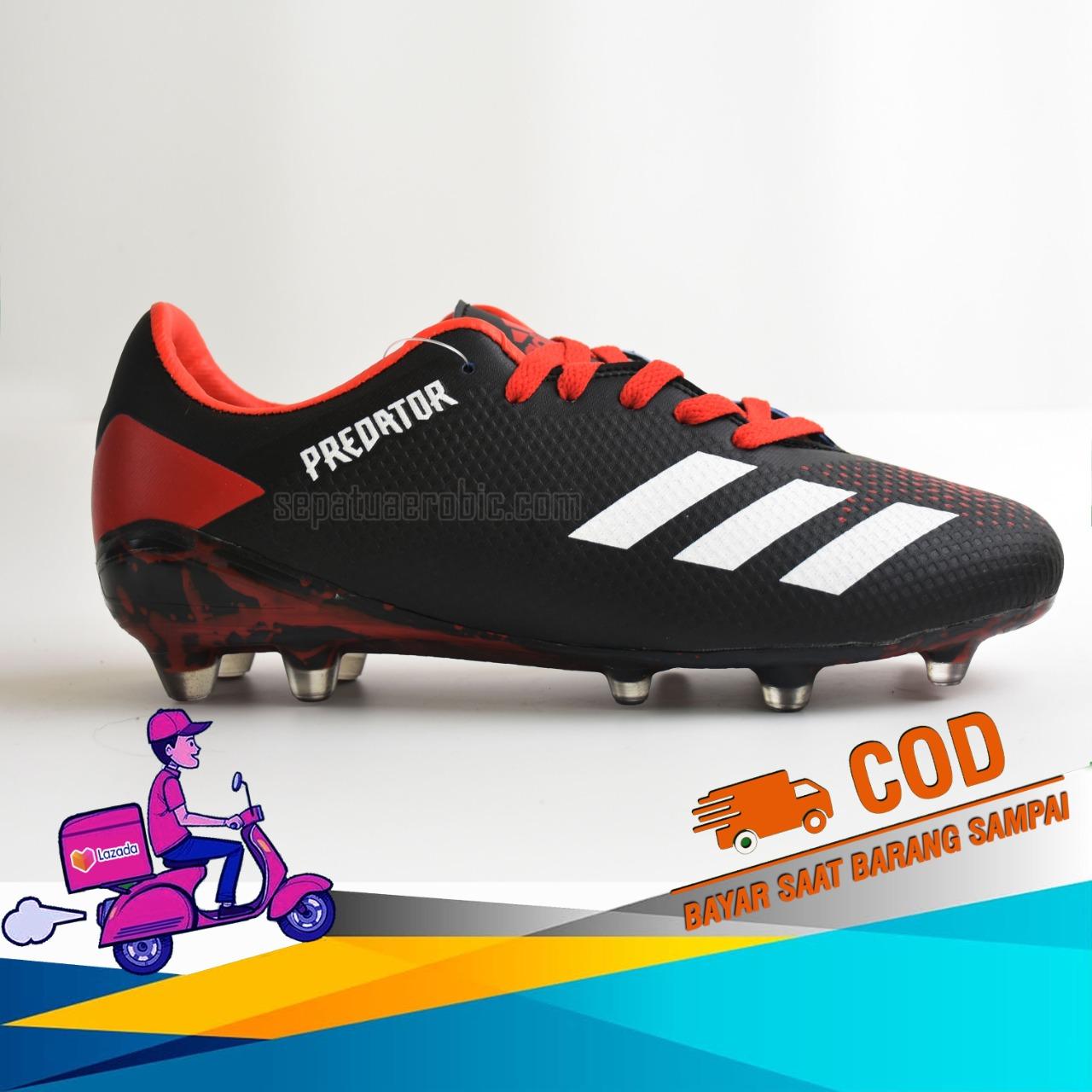 Sepatu Bola_Adidas_Predator Black Red Terbaru/Termurah