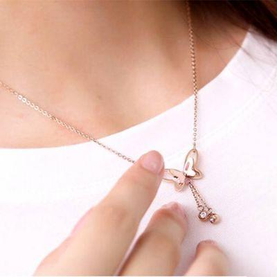 Necklace Butterfly Rose Gold Multi Layer Titanium Steel 18k Rose Gold / Kalung Titanium Wanita By Toko Susu