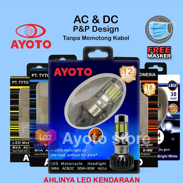 lampu led motor matic/bebek 6sisi socket H6/T19 AYOTO arus AC/DC HI/LOW