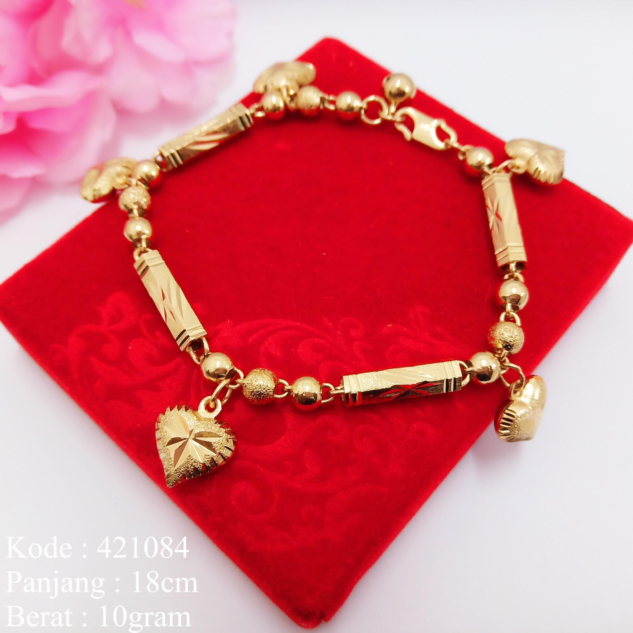 Gelang Tangan Rantai Gelang Xuping Pipa  Gantung Love Emas Imitasi  Kuning Missi Fashion Jewelry
