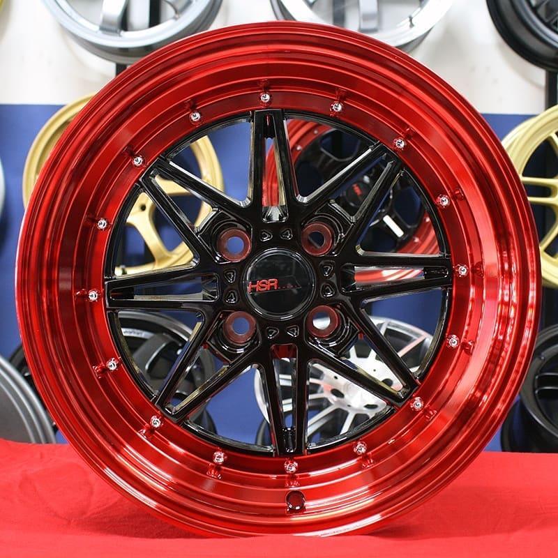 Velg Mobil Ring 16 Honda Jazz HSRKAWAI Black Red Racing Murah