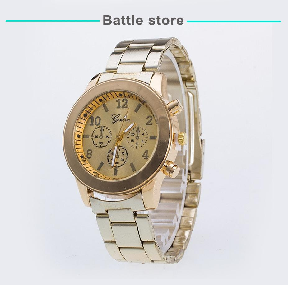 GENEVA 260 Jam Tangan Wanita Analog Fashion Casual Women Strap Stainless Steel Wrist Quartz Watch