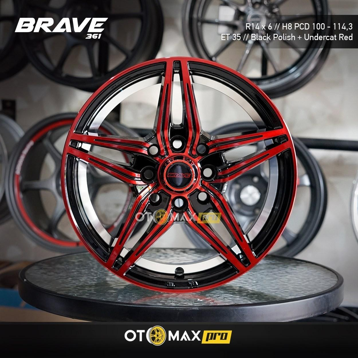Velg Mobil Brave (361) Ring 14 Black Polish + Undercat Red