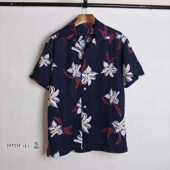 GD ขวา Zhilong รุ่นเดียวกันแขนสั้นนักเรียนเสื้อเชิ้ตลายดอกสำหรับฤดูร้อนชายหาดชายและหญิง HUADO เสื้อเชิ้ตคู่รักเสื้อผ้าแบรนด์ฮิต