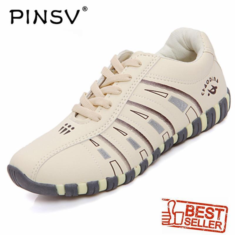 PINSV Sepatu Bulu Tangkis Wanita, Sepatu Olahraga & Luar Ruangan (Warna Krem)